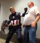 Captain America, punching out Dave Mattingly